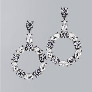 WHBM glass stone circle drop earring